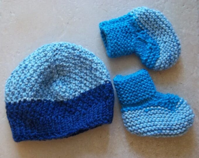 Newborn Baby Hat and Socks - Handknitted Baby Booties and Hat - Infants - Newborn Baby - Color: Dark Blue and Light Blue