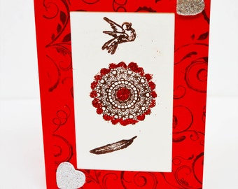 French Valentine Card. French Handmade Card. Blank Card. Heart Card.  French Style Card. Bird. Feather.  French Paper. Glitter.  Red. White.