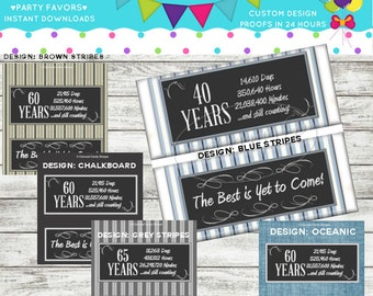 Milestone Birthday Printable Candy Bar Wrappers DIY Printable PDF