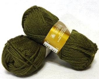 Stash Sale - Peruvian Highland Wool, Wool Yarn, Olive Green Wool Yarn, Highland Wool, Elann Peruvian Highland Wool, Sale Yarn - 2 skeins