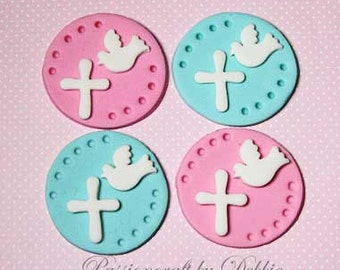 12 Fondant edible cupcake toppers -Boy or girl christening first communion cross and dove baptism religious