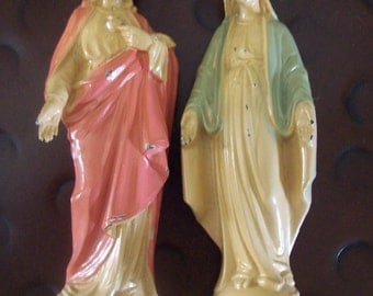 Set of Sacred Heart of Jesus and Blessed Virgin Mary Heavy Metal Statues