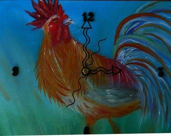 "Hank A. Doodle Original Oil Painting Clock, 9"" x 11"" x 2"", CP3"