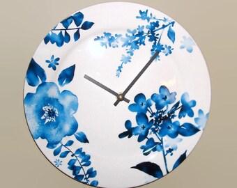 Blue Floral Wall Clock, 11 Inch Silent Ceramic Plate Wall Clock, Kitchen Wall Clock - 2352