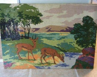 Very Large Needlepoint Country French Pastoral Gazel Antelope Stream Vintage Hand Made Traditional Decor Supply Floor Pillow Home on Range