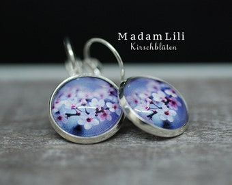 Cherry Blossoms Silver-Plated Earrings