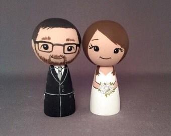 Wedding Cake Toppers Brunette Bride Doll