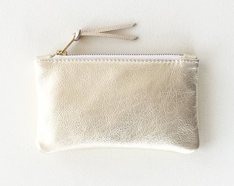 Platinum Leather Clutch, Cell Phone Pouch, Small Gold Wallet, Evening Clutch, Wedding Clutch, Makeup Pouch, Pale Gold Bridesmaid Clutch