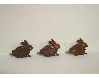 Rusty Metal Rabbits/Set of 3/Craft Supplies*