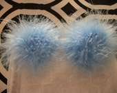 A Pair of Marabou Feather Puff Hair Clips With No-Slip Grips Star Blue