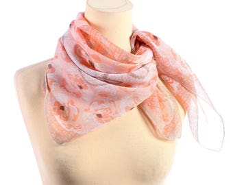 Vintage Cotton Scarf 70s Pink Floral Neck Scarf Apricot Rose Printed 1970s Ladies Head Scarf Vintage Gauze Kerchief Neckerchief Pastel White