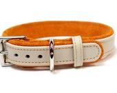 One inch adjustable leather dog collar personalized with embroidery  - This designer collar is a embroidered collar by Ruggit Collars