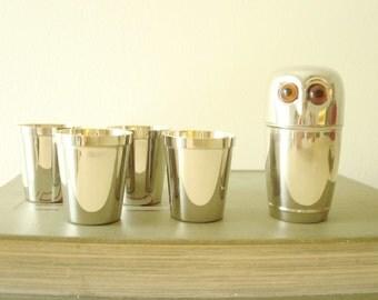 Mid-century shot glass set, West German chrome owl & 4 shot glasses, amber eyed owl, original box, gift for men, chrome shots, bar accessory