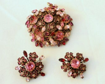 SCHREINER  Demi Parure - Brooch and Clip Earrings - Pink and Red Rhinestone - Collectible