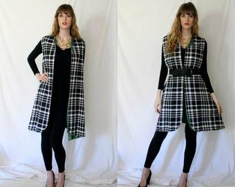Black White Plaid Oversized Vest Smock Jacket - Audrey Hepburn - Avante Garde - Emerald Green Reverse - Women One Size