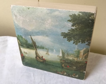 Vintage Painted Italian Scene Trinket Box Jewelry Box Stamp Box Italy Crafted Box Home Office Storage Paper Clip Holder Sewing Room Storage