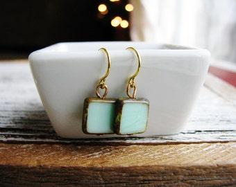 Mint Green Tile Czech Glass Earrings, Square Bead Earrings, Green Earrings, Minimalist, Geometric, Earthy, Simple Design