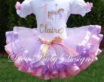 Birthday outfit girl Pink, lavender and gold Carousel ribbon trimmed birthday tutu outfit, whimsical vintage girls first birthday dress
