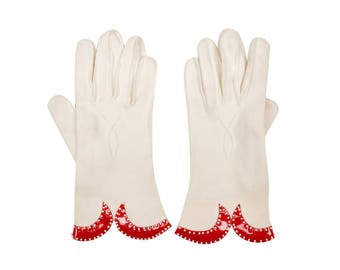 Vintage 1950s White Cotton Gloves w Beaded Red Vinyl Trim Ladies 7 1-2 Large