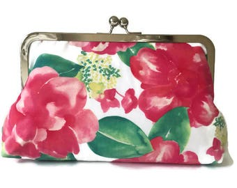 pretty pink rose  print Bridesmaids Clutches  Wedding Purse, destination wedding, formal wedding