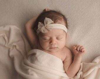 Stretch Knit Wrap - Newborn Wrap - Baby Wrap - Faux Cashmere Creme - Photography wrap