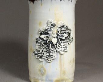 Bee on Honey Comb Stamped Honey Beige Yellow Gray Crystalline Glazed Porcelain Stein