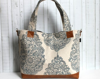 Mandala Paisley with Vegan Leather - Tote Bag /  Diaper Bag -  Medium / Large Bag