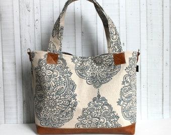 Mandala Paisley with Vegan Leather - Tote Bag /  Diaper Tote -  Medium / Large Bag