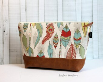 Feathers in Canyon Vegan Leather - Large Make Up Bag / Diaper Clutch / Bridesmaid Gift