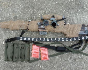 """Steampunk gun camouflage cover NERF Longstrike  40"""" long  goggles ammo pouch leg  Walking Zombie killer costume party soft dart toy LIMITED"""