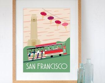 Art Print of San Francisco Retro Travel Poster Style