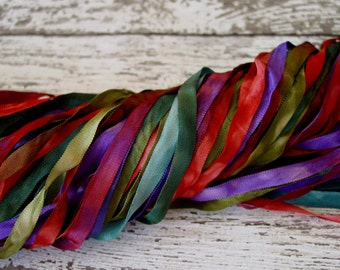 NeW - Hand Dyed Ribbon - GYPSY WAGON quarter inch wide ribbon, 5 yards