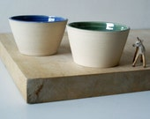 SECONDS SALE - Set of two partly glazed snack bowls in forest green and ocean blue