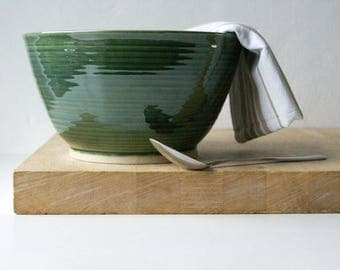 Handmade stoneware fruit bowl - wheel thrown bowl in forest green