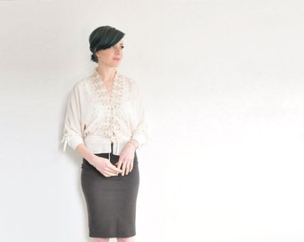 scalloped embroidered leaf boho blouse . cream ribbon bow tie hippie top .medium.large