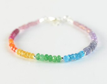 7 Chakras gemstones bracelet. Pink Quartz Ruby Carnelian Citrine Onyx Jade Iolite Amethyst.Seven Chkras