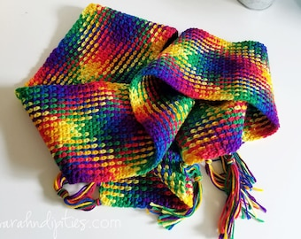 Crochet Plaid Scarf - Mexicana - Rainbow - Extra Long - Women's Crochet Scarf - Bright Bold - Unique - One of a Kind - Color Pooling Scarf