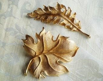 2 Vintage Autumn Leaves Brooches
