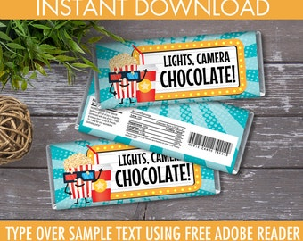 Movie Party Candy Bar Wrappers, Movie Favors, Chocolate Labels, Movie Birthday | DIY Instant Download PDF Printable