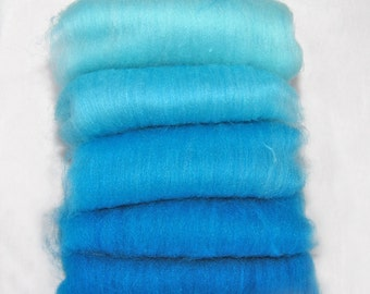 Polwarth/Silk Turquoise Spinning Batts - 5-3/4 ounces