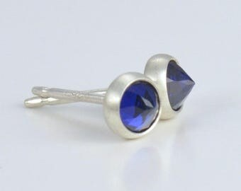 blue lab spinel sapphire rose cut sterling silver studs