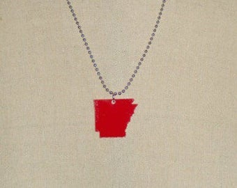Red Arkansas Necklace, Lasercut State Jewelry, Arkansas Shape, State Necklace