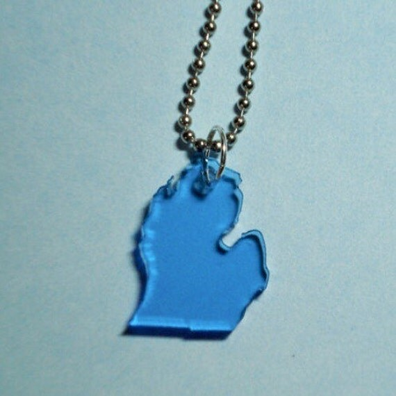 Small Michigan Necklace in Light Blue Lasercut Acrylic