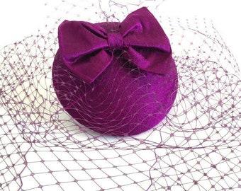Magenta cocktail hat, Silk fascinator, Birdcage veil.