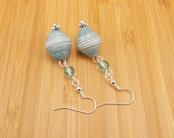 Paper Bead Earrings - Rwandan Paper Beads - Light Blue with White - Pale Turquoise - Blue-Green