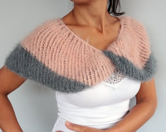 Twisted Shoulder Wrap Stole Warmer CUSTOM COLORS Seamless Knitted Shrug Bolero Infinity Shawl, Christmas Gift, Pastel Pink Gray Fall Winter