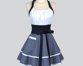 Flirty Chic Womens Aprons - Full Retro Kitchen Cooking Apron in Vintage Nautical Navy Blue and White Polka Dot Hostess Cute Womans Apron