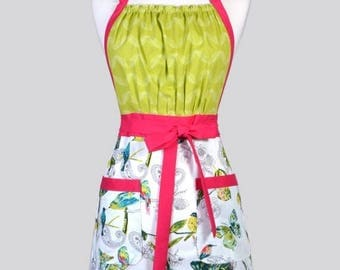 SALE Cute Kitsch Womens Apron - Turquoise and Ivory Birds Retro Full Coverage Vintage Style Kitchen Chef Apron with Pockets
