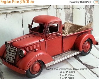 SALE Large Old Fashioned Red Truck Christmas Home Decor / Farm Farmhouse Decor / Western / Primitive / Country Lumberjack Birthday