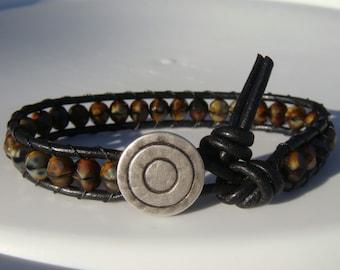 Tiger Eye Beaded Leather Bracelet